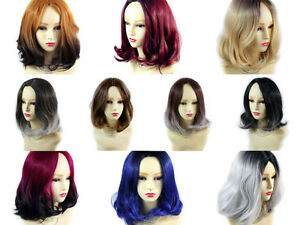Details Zu Wiwigs Lovely Medium Bob Style Wigs Red Grey Blue Brown Dip Dye Ombre Hair