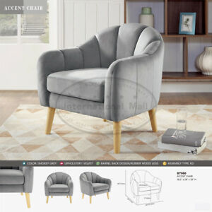 Details about Tub Club Barrel Velvet Contemporary Lounge Accent Armchair  Single Sofa Furniture
