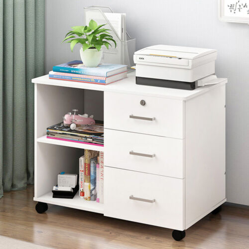 Bedside Removable Table Nightstand Cabinet Cupboard Sideboard With Drawer Wheels