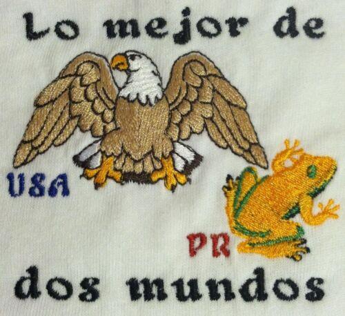 Lo Mejor de dos Mundos Puerto Rico /& USA Coqui /& Eagle Embroidered Baby Bodysuit