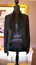 WAREHOUSE 12 Black 100% Leather Unlined RawEdged Cropped Waterfall Blazer Jacket
