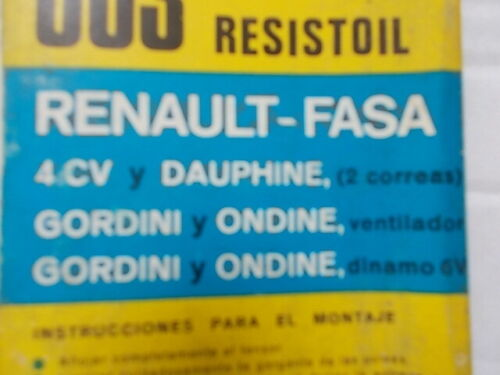 1 CORREA 13X600 RENAULT 4//4 Y DAUPHINE ONDINE Y GORDINI VENTILADOR Y DINAMO 6V
