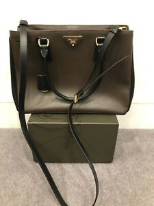 Prada-Saffiano-Lux-Bag-In-Caffe-And-Nero