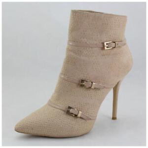 High Heels Stiefeletten Gr. 41 beige mit Schnallen Stiefel / Boots (#3370)