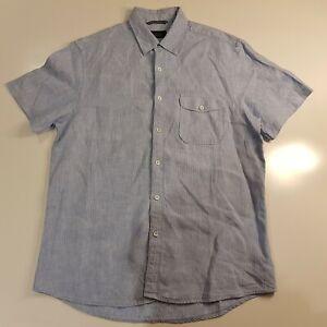 Sportscraft Men's Size M Linen Short Sleeve Shirt Button Front Collar Blue -HS69