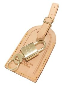 Authentic-Louis-Vuitton-Large-Name-Tag-w-Lock-amp-Key-Ring-Goldtone-One-Set