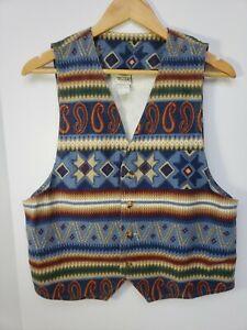Vintage-80s-Vivaldi-Jeanswear-Boho-Southwest-Aztec-Mens-Medium-Denim-Vest-Shirt