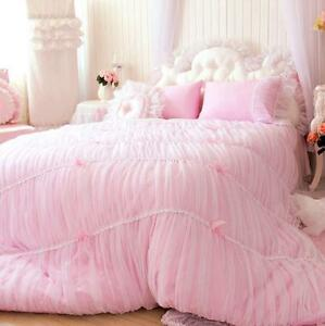 princess shabby chic floral pink lace duvet comforter cover set queen full twin ebay. Black Bedroom Furniture Sets. Home Design Ideas