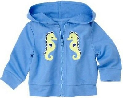 GYMBOREE GREEK ISLE STYLE BLUE w// SEAHORSE KNIT HOOD JACKET 3 6 12 24 NWT