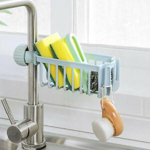 Kitchen-Sink-Faucet-Sponge-Soap-Basket-Cloth-Drain-Rack-Storage-Holder-Shelf-UK
