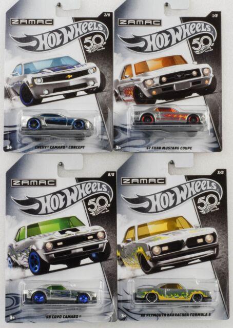 Zamac Set 4 Cars / 50th Anniversary/Barracuda Camaro Mustang 1:64 Hot Wheels F