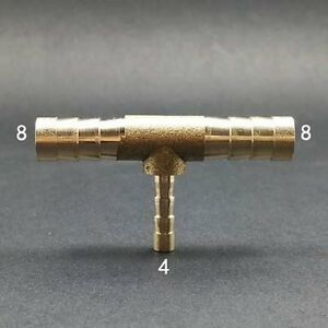 """Reducer Hose ID 5//16/"""" to 1//4 or 6x8x6 mm Brass Barb Tee Fitting Oil Fuel Gas Air Connector Repair Kit"""