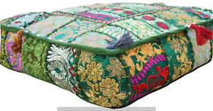 Indian-Handmade-Green-Floor-Cotton-Cushion-Cover-Pouf-Ottoman-Cotton-Patchwork