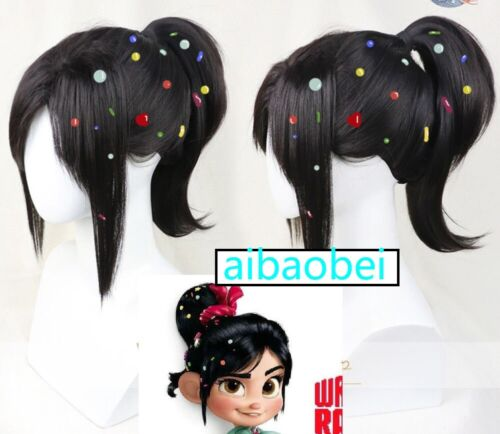 No candy Wreck-It Ralph 2 Vanellope von Schweetz Halloween Party Cosplay Wig
