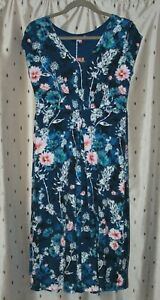 Joe-Browns-Blue-Floral-Stretch-Viscose-Dress-Size-10-NWT