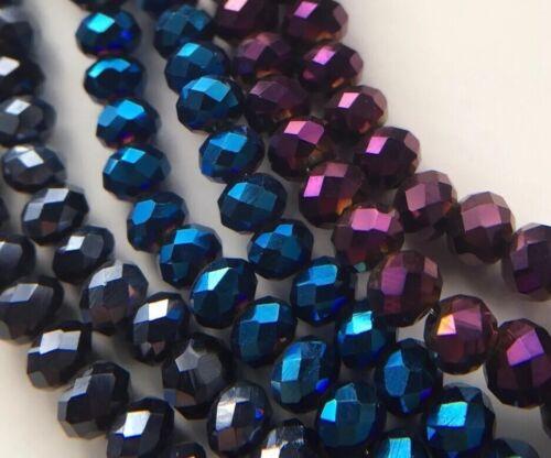 300 Stk Lila//Blau//Schwarz facettierte Glasperlen 4mm//Schmuck Basteln Fädeln