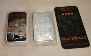 BARRELY-LIVING-10oz-5oz-X-2-Special-999-Silver-Enameled-Art-Bars-LOW-MINTAGE