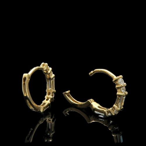 Details about  /1Ct Baguette /& Round Cut Diamond Unique Huggie Earrings 14K Yellow Gold Over