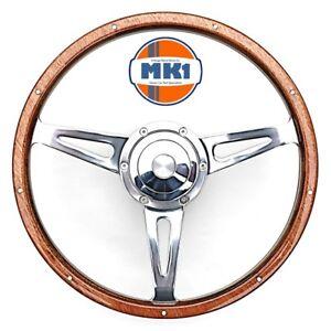 Mk1 Classic Car Land Rover Defender 15 Wood Rim Steering Wheel Boss
