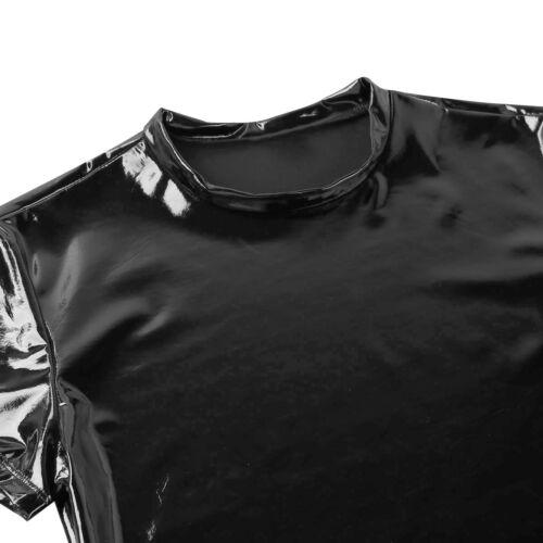 Noir Homme Brillant Faux Cuir À Manches Courtes Top Shirt Clubwear Muscle Gilet Collants