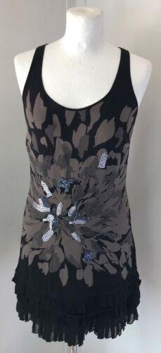 taglia Ladies Line seta Long bordino in Black 6 8 Top Ted con Baker Brown Vest pq14w4