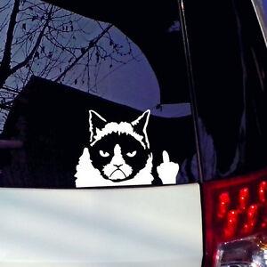 Grumpy-Cat-Flippin-Off-vinyl-Car-Laptop-Graphics-window-Sticker-Decal-Decor-CAA