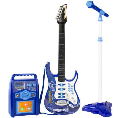 Kids Electric Guitar Play Music Set MP3 Player, Microphone, Amp Amplifier Blau +