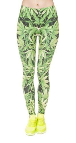 Hanf Blatt Cannabis Weed Marihuana Leggings Sport Yoga Hose Gr 34-38