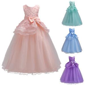 d2b5f050d Flower Girl Princes Dress Kids Formal Party Wedding Bridesmaid ...