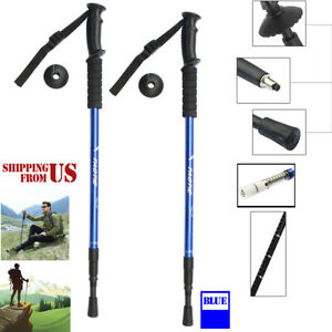 Trekking-Walking-Hiking-Sticks-Poles-Alpenstock-anti-shock-65-135cm-Black