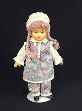 "German Tati Doll Handmade Purple Braids Bonnet Traditional Outfit w/Stand 9.5"""