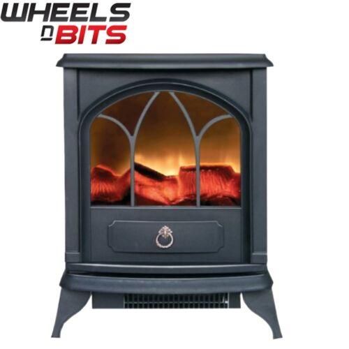 Neuf 1.8KW électrique portable poêle-cheminée chauffage réaliste flamme /& billes noir