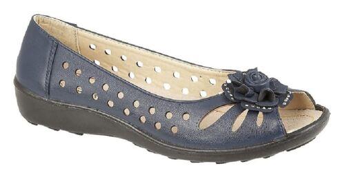 Boulevard Bow Open Toe Summer Shoes Navy Blue PU