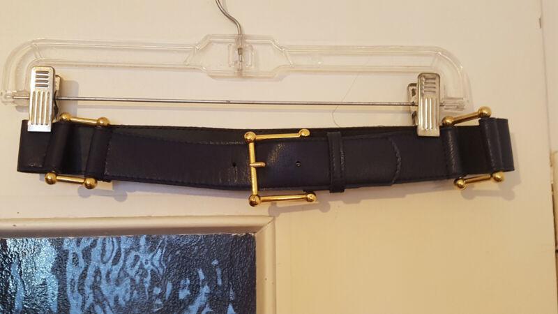 True Vintage Dunkelblauer Taillengürtel Mit Goldenen Schnallen Gr. 38 S 70-75cm