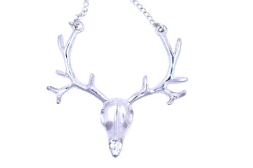 Fluorescent GROSSE CERF HEAD TÊTE DE MORT cartilage de wapiti pur LONG COLLIER,