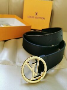 New Louis Vuitton Belt with Gold Circle Buckle in Black 110/35