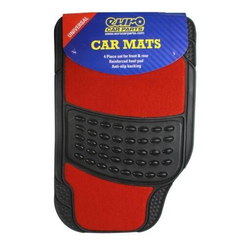 Heavy Duty 4 Piece Black Rubber Car Mat With Red Carpet Centre Set Of 4 Top Tech