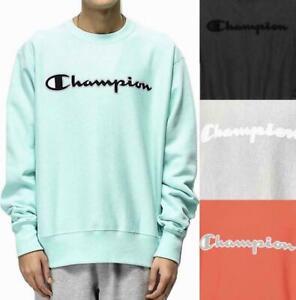 Champion-Life-Men-039-s-Reverse-Weave-Crew-Sweatshirt-Pullover-Mesh-amp-Leather-Logo