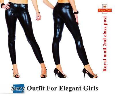Black Womens Shiny WET LOOK Leggings Full Ankle Length Tight All Sizes UK*WetLg
