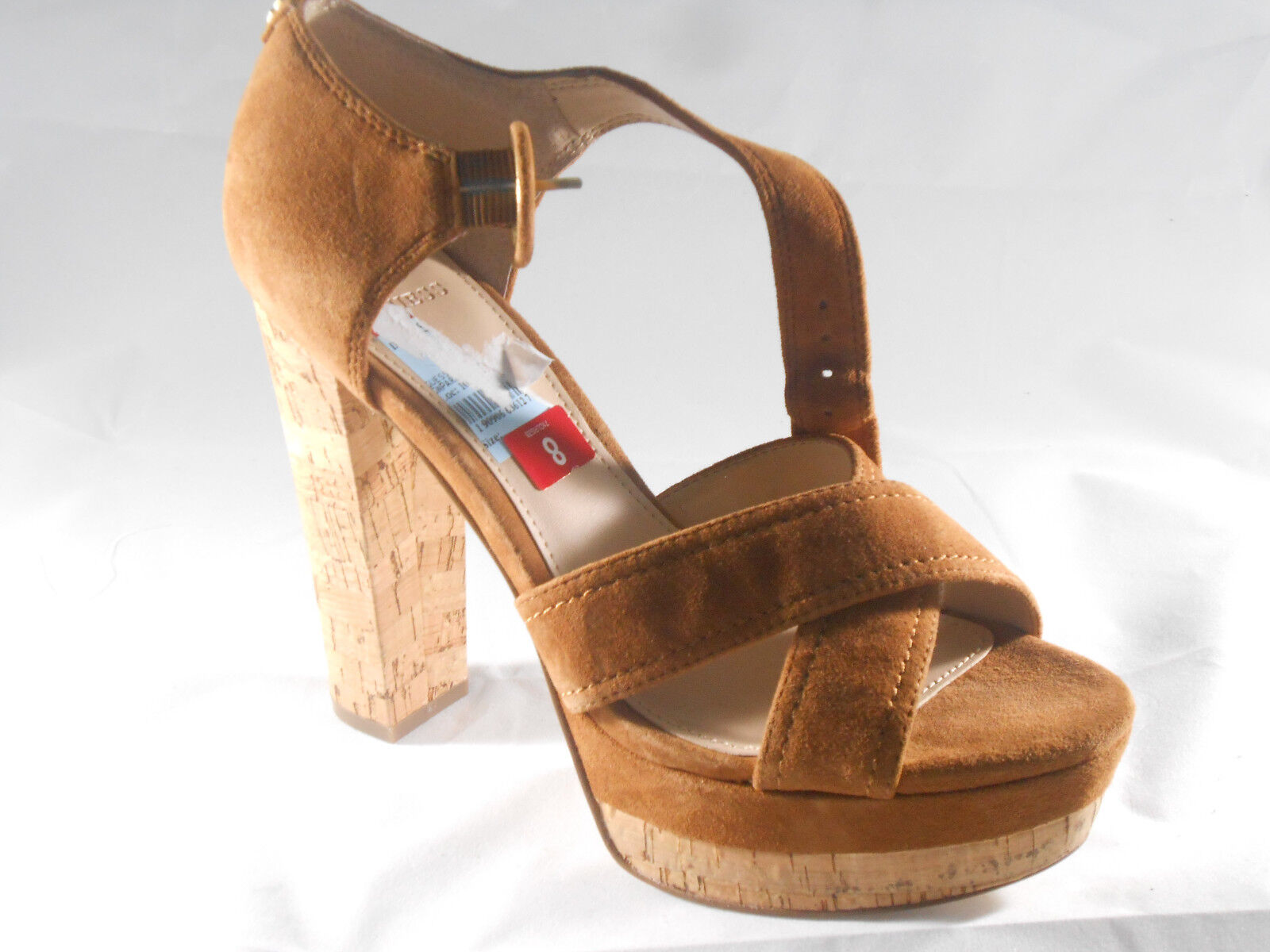 GUESS LOS ANGELES (PARRIS DARK NATURAL HEEL) WOMES Dimensione 8 BRADD NUOVO
