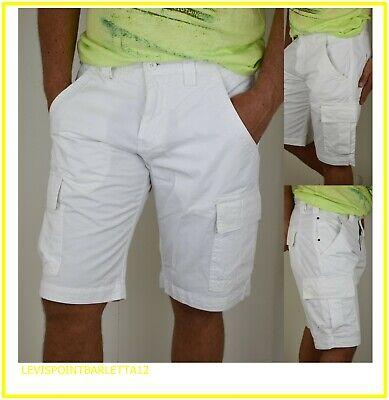 Coraggioso Guy Bermuda Shorts Cargo Da Uomo Bianca Con Tasconi Tasche Cotone 46 48 50 52 54