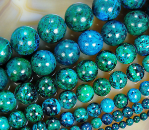 10mm Azurite Chrysocolla Gemstones Loose Beads 15/""