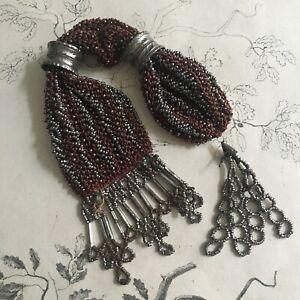 Bourse-Porte-Louis-d-039-Or-Perles-de-Metal-XIXe-CHARLES-X-Antique-Purse-19thC