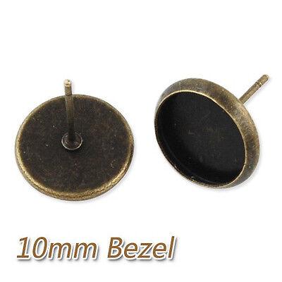 50Pcs 10MM Round Bezel Earrings Stud Blank Pad Base Earrings Findings Crafts