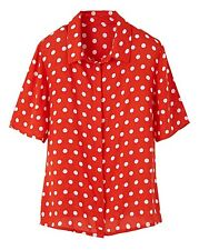 RED AND WHITE DOTTY BOXY SHIRT - PLUS SIZE 22. SIMPLY BE