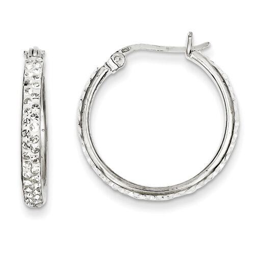 925 Sterling Silver Hinged Post Polished White Crystals Hoop Earrings