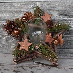 Holzkranz Mit Deko Windlicht Advent Tischdeko Weihnachten Holz Stern