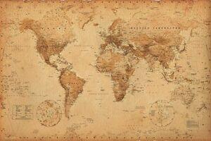 Details about VINTAGE WORLD MAP, Rustic Antique Version, Size 24x36