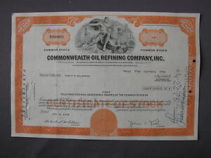 COMMONWEALTH-OIL-REFINING-COMPANY-INC-STOCK-CERTIFICATE-Aktie-share-action
