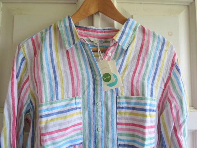 BNWT Boden The Linen Shirt UK 14 R (US 10 EU 40 42) Candy Stripe Current Season